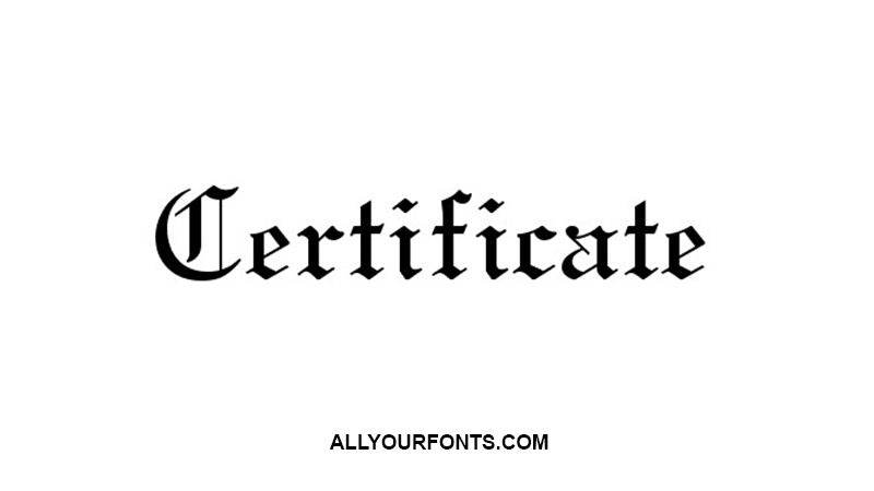 Certificate Font Family Free Download